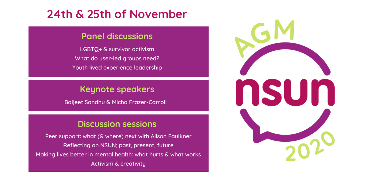 """Graphic displaying key information about the Annual General Meeting. Title """"24th and 25th of November"""", also displays the NSUN AGM 2020 logo. Three purple boxes display the information: """"panel discussions 1)LGBTQ and Survivor Activism 2) What do User Led Groups Need? 3) Youth Lived Experience Leadership"""". """"Keynote speakers Baljeet Sandhu and Micha Frazer-Carroll"""". """"Discussion sessions 1) Peer Support - what (and where) next with Alison Faulkner 2) Reflecting on NSUN: past, present, future 3) Making lives better in mental health: what hurts and what works 4) Activism and creativity""""."""
